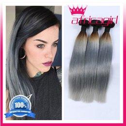 cheap Malaysian Brazilian Peruvian Virgin Hair straight Silver Ombre Hair Extensions ombre grey human hair bundles 4 bundle deals free ship