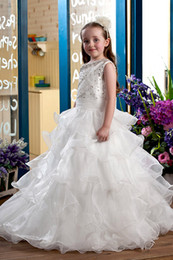 2016 new shoulder straps Flower Girls' Dresses layered flounced beaded Ruffle fashion girl Dress flower girl pageant dress plus size