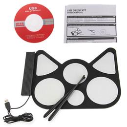 Batterie électronique pad ensemble à vendre-Vente en gros-numérique Portable Silicone 6 Pad Musical Instrument Roll-up électronique Roll up kit tambour Batterie Sticks Port USB avec Stick
