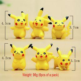Wholesale 6pcs of a set Cute view Pikachu doll Pikachu Figure cm cm furnishing articles doll ABS Action Figure Toys
