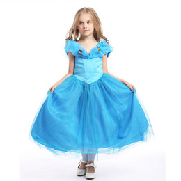Wholesale Satin Ruffle Baby Dress - Baby & Kids Clothing Girl's Dresses Cosplay & Costumes Halloween Day Christmas Classic Fairy Tales Cinderella blue princess Dress