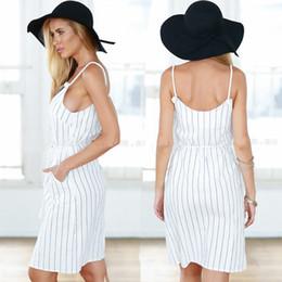 2016 New Women Striped Casual Dresses V-Neck Sexy Dresses Spaghetti Strap Split Loose Mini Dress Sundress Plus Size Women Beach Summer Dress