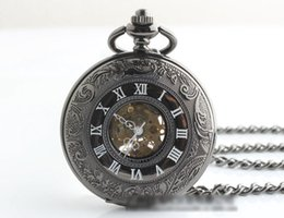 Wholesale Authentic Roman classics dual display retro hollow men and Mechanical antique pocket watch lady gift