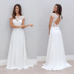 2016 Bohemian Wedding Dress Illusion Neckline Capped Sleeves A Line Backless White Lace and Chiffon Flowy Sexy Beach Wedding Dresses Cheap