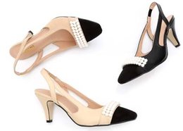 high quality~ U542 40 GENUINE LEATHER SLING BACK PEARL med HEEL SANDALS luxury designer shoes beige matte 6cm c