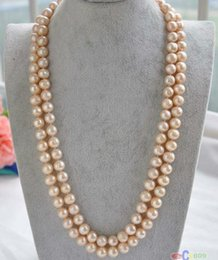 Wholesale 38inch 9-10mm round south sea gold pink pearl necklace 14k gold