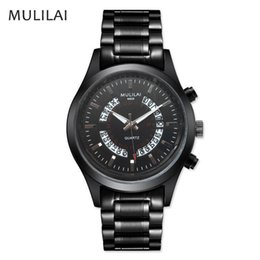 discount! 2017 fashion brand MULILAI stainless steel luxury watch light can automatically bring the calendar quartz men's hand movement watc