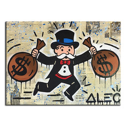 Wholesale Alec monopoly double pack idea huge new Graffiti art print on canvas for wall picture decor oil painting in living room no frame