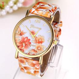 Hommes robe gros de montre à vendre-Vente en gros de mode fleur de style robe geneva montre femmes hommes couleur Mode Montres femmes robe montres montres en cuir