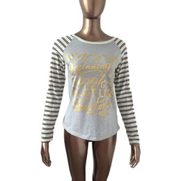 2016 fashion new arrival women clothing Lady O-Neck Striped Raglan Long Sleeve Letter Slim Fit T-Shirt christmas Tops Casual Tees