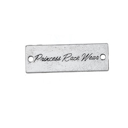 Wholesale Antique Silver Tone Rectangle Letters Princess Race Wear Charms Pendants in Charms Mix Available