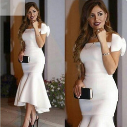 Arabic Style white Prom Dresses 2016 with Sexy off shoulder Tiered Stain Bow Tea Length Elegant Mermaid Evening Dress Formal Party Dresses