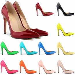 Wholesale New Fashion Candy Colored Patent Leather Pointed Stiletto Increased Anti Skid Ladies Single Shoes Lady Dress Shoes Office Shoes