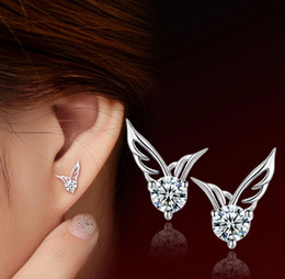 Women Angel Wings Stud Earrings Fashion South Korea Bohemian White Gold Overlay Ear Jewelry 925-Sterling-Silver Austrian Crystal Angel Wing