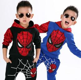 Promotion spiderman ensembles de vêtements d'été 2016 nouveaux ensembles de détail spiderman enfants de vêtements enfants été chemise + pantalon de dessin animé de mode garçons tees costume pantalon