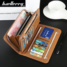 Wholesale Baellerry Purses Men s Wallets Long Zipper Male Vintage Polished Leather Card Holder Business Fashion Solid Black