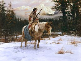 Wholesale THE LONELY SENTINEL by Howard Terpning Genuine Handpainted Portrait Art Oil Painting On Canvas in customized size accepted