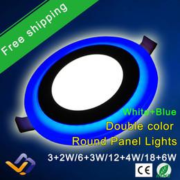 Скидка синяя панель Ultra Slim Embeded Круглый свет панели СИД 6W 9W 18W 24W двойной цвет синий и холодный белый LED панель Downlight Lamp 105мм 145мм 195мм