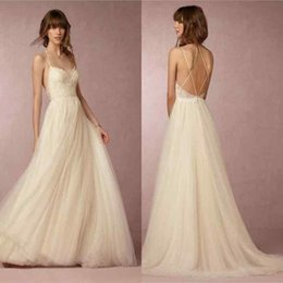 2016 Beach Wedding Dress Sexy Spaghetti Strap Sleeveless Appliques Lace On Top A-Line Wedding Gowns Custom Made