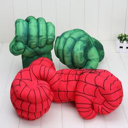 26cm Los guantes increíble Hulk hombre araña super héroe de la rotura violenta de felpa Guante de boxeo juguetes para niños Los niños de juguetes de Navidad desde superhéroes juguetes de peluche fabricantes