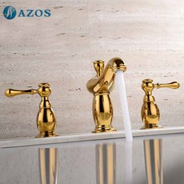 Wholesale Bathroom Sink Faucets Three Hole Deck Mounted Hot Cold Mixers Gold Color Toilet Replacement Parts MPSK029