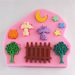 Wholesale 1 pc Bakeware Tools Small Garden Moon Stars Cat Owl Tree Silicone Fondant Soap Sugar Craft Cake Decorating Silicone Cake Mold