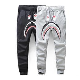 Men's Black Grey Shark Pant Trousers Fashion WGM Harem Pants Autumn Winter Fleece Sportswear Long Trousers Jogger Running Sweatpant