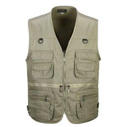 Wholesale Summer Men s Photographer Vest Multi Pockets Cheap Vests Shooting Waistcoat Vest Walking Travel Vest L XL