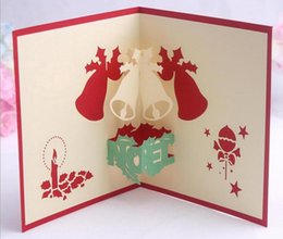 Wholesale 10pcs Bells Candle Handmade Kirigami Origami D Pop UP Greeting Cards Invitation Postcard For Birthday Christmas Party Gift