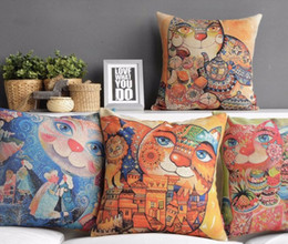 Wholesale Cat Classical Fairy Tale Architecture Designs pillow Massager Decorative Art painting Neck Euro Case Cover Pillows Home Decor