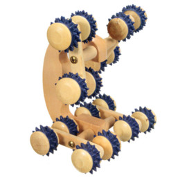 Wholesale Useful Wood Wooden Roller Rolling Ball Wheel Massager Neck Back Leg Waist Body Relax Slimming Care Fitness Massage Tool