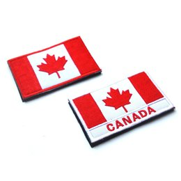 Wholesale Clothing accessories Hot DIY D embroidery cloth labeling Canadian flag magic stick armbands embroidered badges patches for clothing CM