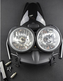 Wholesale Front Bug Eyed Dual Head Light Lamp Headlight Headlamp Upper Cover Guard Set Black For YAMAHA Zuma BWS YW125