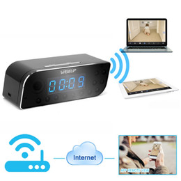 Wholesale Wireless spy hidden camera P Wifi Network Spy Camera Clock Motion Security DVR Support iPhone Android APP Remote View Degree Wide