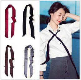 Wholesale Korean version of female spring summer autumn pure color satin scarves long narrow scarf belt with black and white joker street snap small