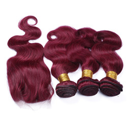 Hot Sale Beauty Color #99j Wine Red Hair Weaves With Lace Closure 4Pcs Lot 9A Burgundy Body Wave Human Hair