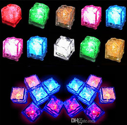 Wholesale Set of Lite cubes Multicolor Light up LED Blinking Ice Cubes Liquid active Night Light Party Xmas wedding decor