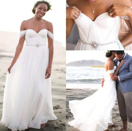 Summer chiffon beach wedding dresses off shoulder waist crystal beadings sash sweetheart recepetion dresses for bridal 2016