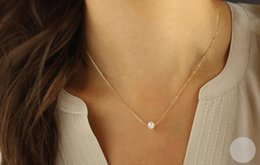 30PCS- N133 Simple White or Ivory Pearls Necklace Cute Circle Round Pearl Necklaces with Gold Silver Chain for Women Wedding Party