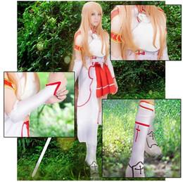 Wholesale Sword Art Online Asuna Yuuki Cosplay Costume Top Red Dress Gloves socks Belt Vest White hemline