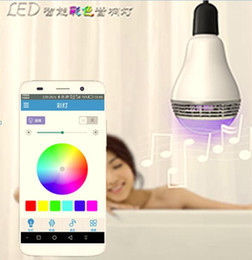 Wholesale 2016 Smart colorful LED bulb with bluetooth speaker combine with RGB LED stereo audio speaker