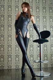 Womens Sexy Wetlook Look Catsuit with Open Crotch Leather Body Suit Sex Bondage Adult Fetish Queening Costume