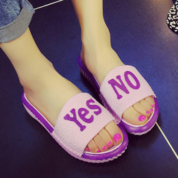 Wholesale New Summer female fashionable home interior heavy bottomed sandals and slippers bathroom cartoon letters