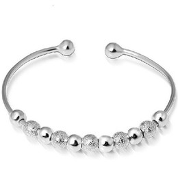 Silver Bracelet Bangle Jewelry Fashion Lucky Beads Cuff Bracelets Bangles for Women Girl Wedding Party Wholesale Free shipping 0066WH