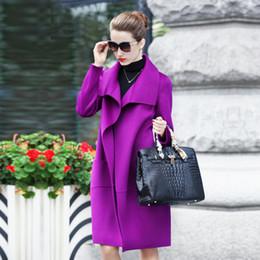 Wholesale 2016 Turtle Neck Long Sleeve Women Outwear Asymmetrical Cut Elegant Women Winter Double Face Warm Cashmere Wool Ladies Coat High Quality