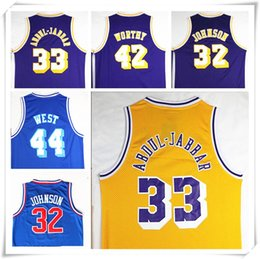 Wholesale Stitched Swingman Magic Johnson Kareem Abdul Jabbar Shirt Abdul Jabbar Artest Worthy Jerry West Throwback jerseys Retro Sport