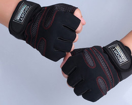 Wholesale-A34 Weight Lifting Gym Gloves Workout Wrist Wrap Sports Exercise Training Fitness