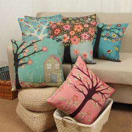 Цветковые деревья для продажи-Мягкая cutton подушка покрытие кейс цветок дерево птицы стиль подушка наволочка красочный стиль свежие постельные принадлежности Расходные материалы DHL