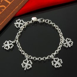 Factory direct wholesale 925 Sterling Silver 5 hanging clover Bracelet Silver Jewelry