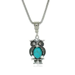 New Silver Plated Color Jewelry Vintage Turquoise Owl Collares Crystal Chain Statement Necklace for Women Fine Jewelry